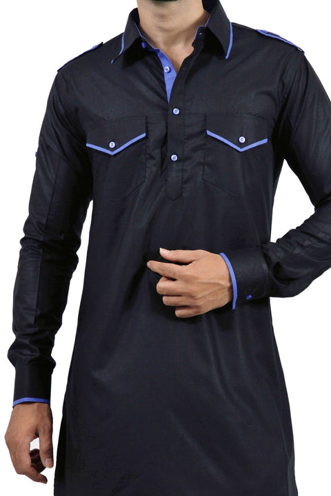 Saris and Things Black Pathani Suit for Men
