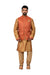 Indian Traditional Silk Golden Sherwani Kurta Set with Rust Jacket for Men