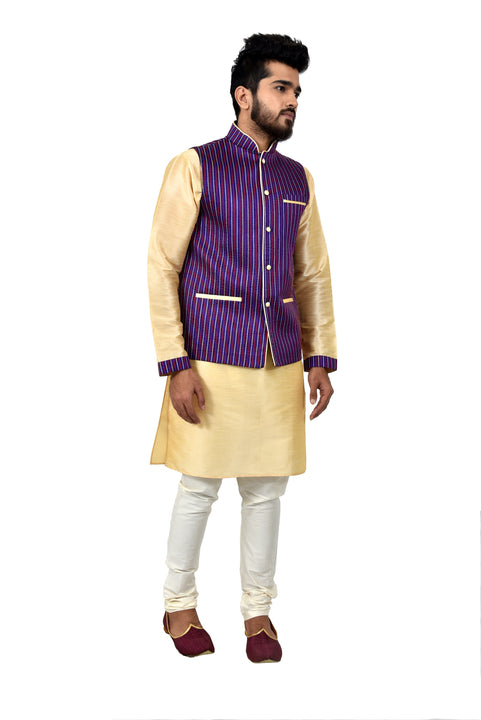 Indian Traditional Silk Cream Sherwani Kurta Set with Catalina Blue Jacket for Men