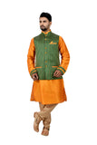 Indian Traditional Silk Cadminm Orange Sherwani Kurta Set with Green Jacket for Men