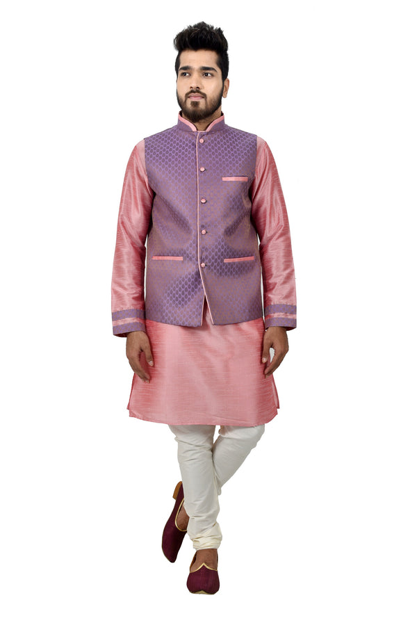 Indian Traditional Silk Cameo Pink Sherwani Kurta Set with Light Pastel Purple Jacket for Men