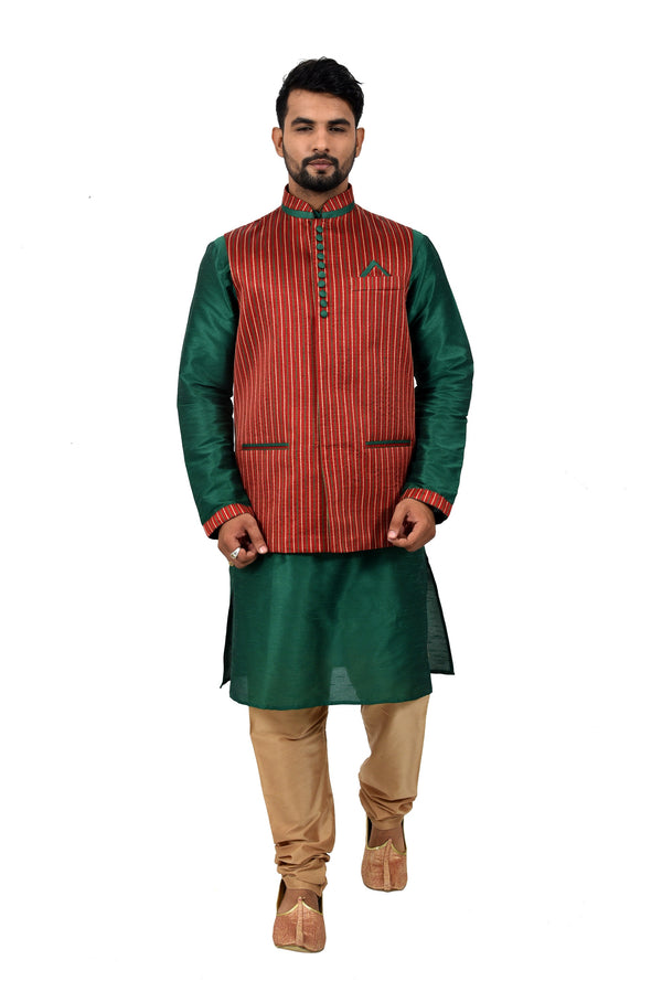 Indian Traditional Silk Green Sherwani Kurta Set with Maroon Jacket for Men