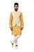 Indian Traditional Cotton Silk Golden Yellow Sherwani Kurta Set with Ivory Jacket for Men