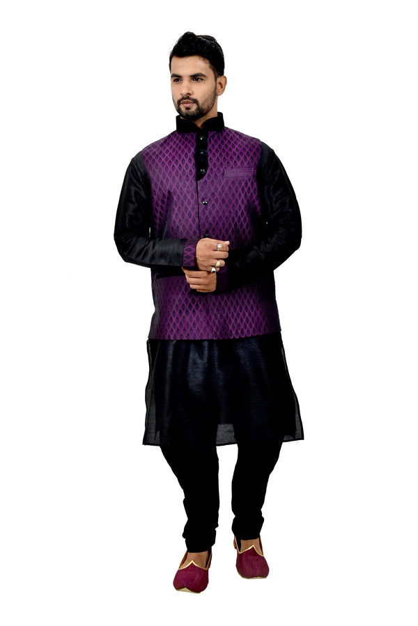 Indian Traditional Silk Black Sherwani Kurta Set with Plum Jacket for Men
