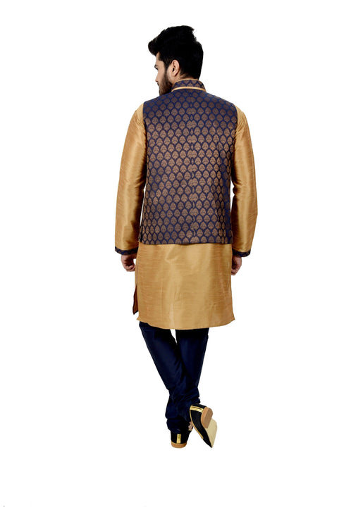 Indian Traditional Silk Golden Sherwani Kurta Set with Navy Blue Jacket for Men