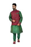 Indian Traditional Ghiccha Silk Green Sherwani Kurta Set with Multicolour Jacket for Men