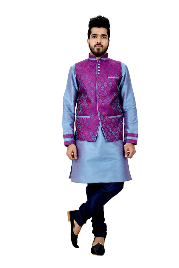 Indian Traditional Silk Rich Blue Sherwani Kurta Set with Neon Purple Jacket for Men