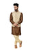 Indian Traditional Silk Otter Brown Sherwani Kurta Set with Cream Jacket for Men