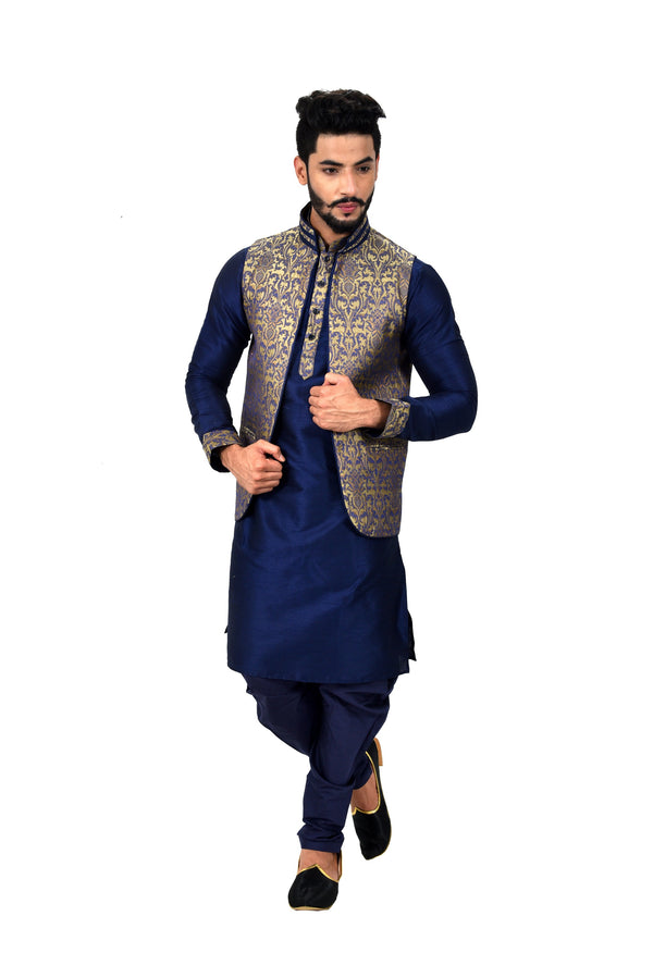 Indian Traditional Silk Navy Blue Sherwani Kurta Set with Jacket