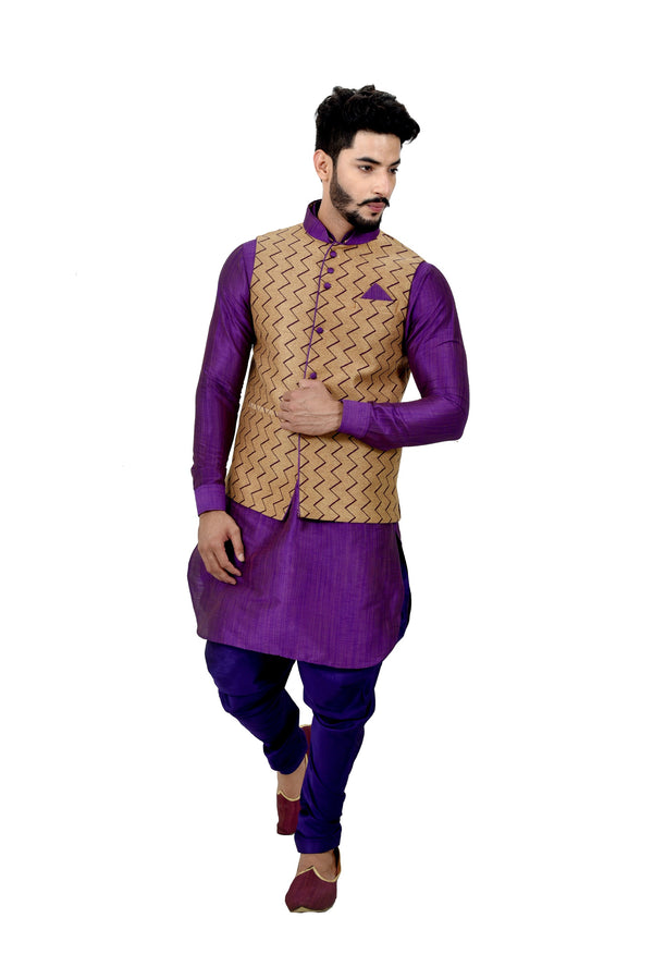 Indian Traditional Ghiccha Silk Purple Sherwani Kurta Set with Camel Jacket for Men