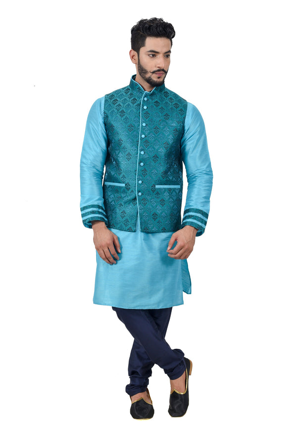 Indian Traditional Silk Lagoon Blue Sherwani Kurta Set with Celadon Green Jacket for Men
