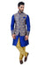 Indian Traditional Silk Mono Blue Sherwani Kurta Set with Multicolour Jacket for Men