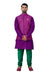 Indian Traditional Cotton Silk Purple Sherwani Kurta Set with Multicolour Jacket for Men