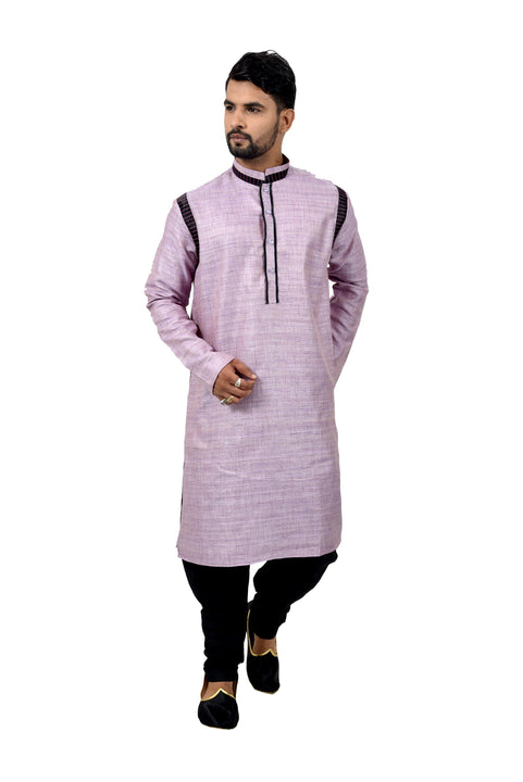 Indian Traditional Cotton Silk Lavender Kurta Pajama for Men