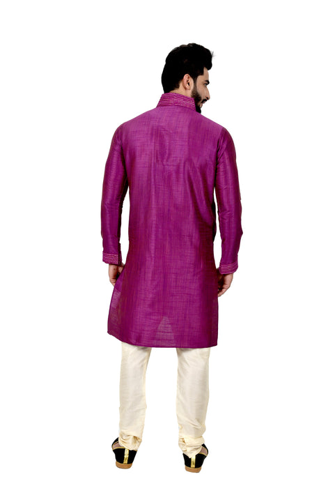 Indian Traditional Ghiccha Silk Darkmagenta Kurta Pajama for Men