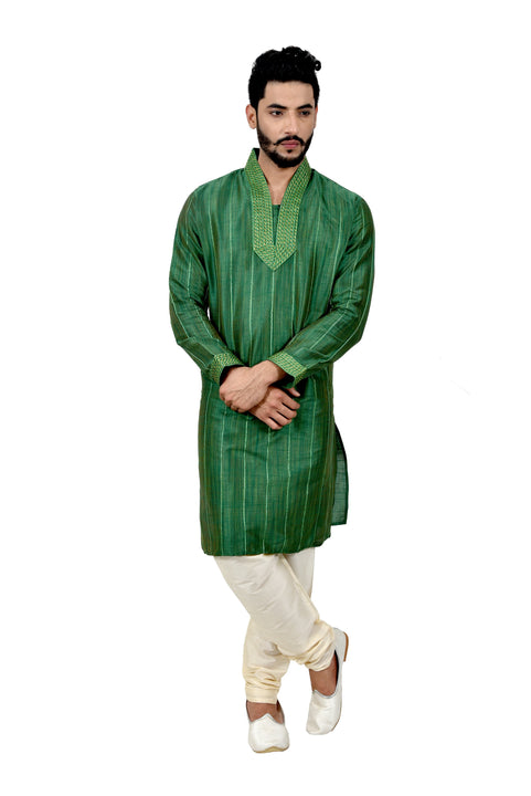 Indian Traditional Ghiccha Silk Green Kurta Pajama for Men