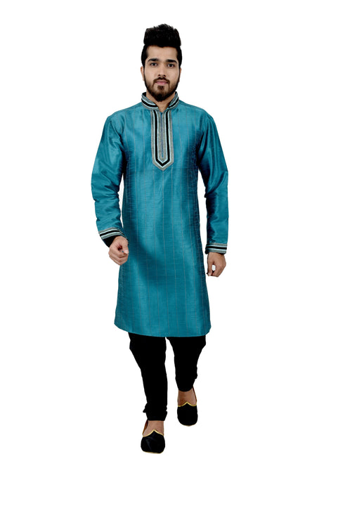 Indian Traditional Silk Peacock Blue Kurta Pajama for Men