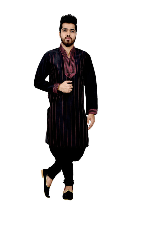 Indian Traditional Silk Black Kurta Pajama for Men