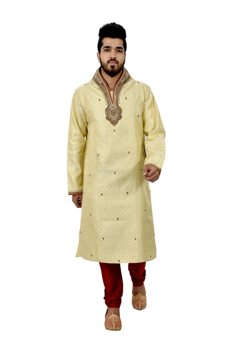 Indian Traditional Brocade Silk Lemonchiffon Kurta Pajama for Men