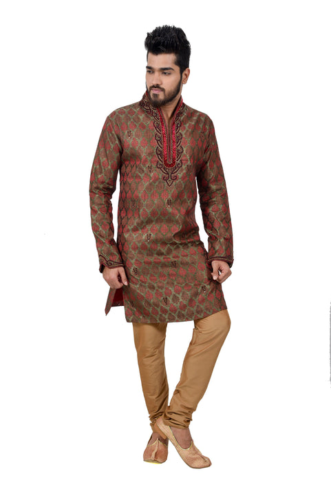 Indian Traditional Brocade Silk Multicolour Kurta Pajama for Men