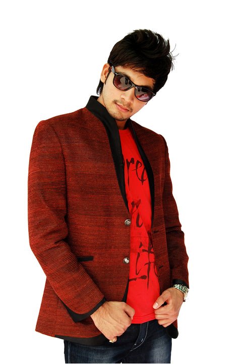 Trendy Apple Cut Rust Blazer for Men