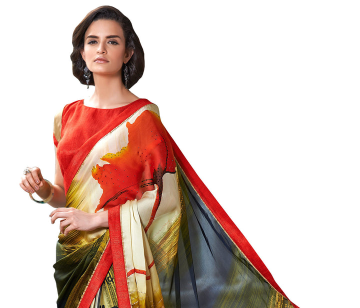 Sensational Crepe Silk Designer Hand Painted Saree Sari - D-301