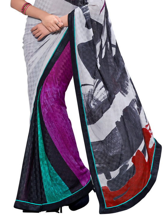 Digital Print Crepe Silk Purple and Mint Saree Sari D-308