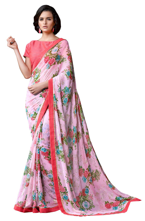 Rose Print Iconic Soft Georgette Indian Saree Sari D-311