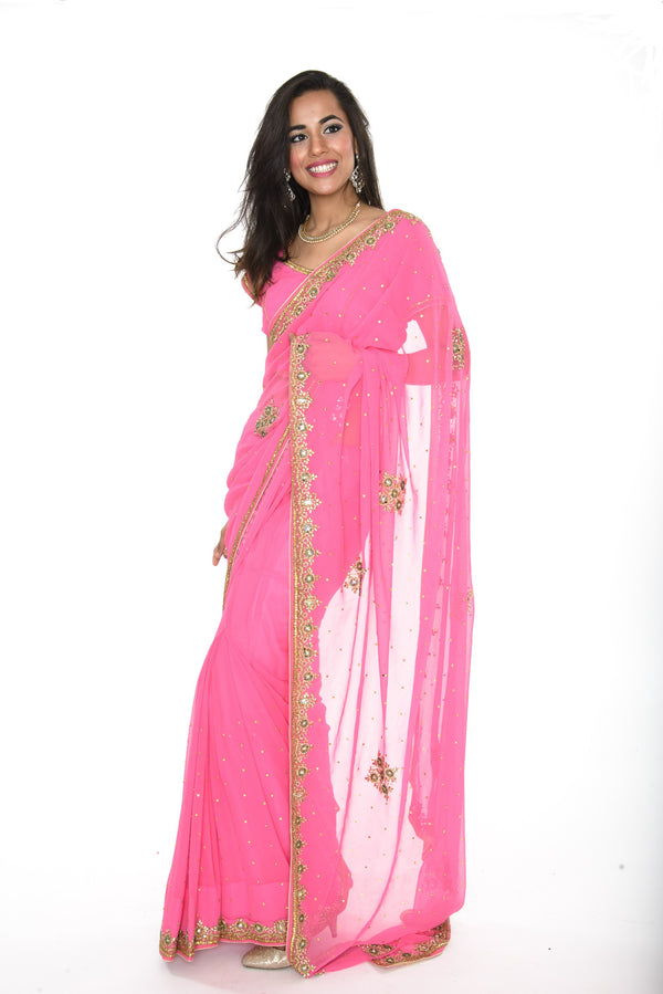 Bright Pink Pre-Stitched Ready-made Sari