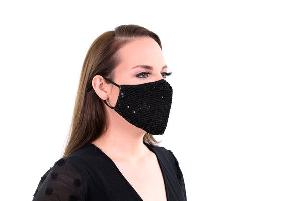 2 Pack Sequin Black Face Mask Bling Sparkle 3 Layer Reusable, Washable, Soft Fabric, Adjustable Ear Loops & Pocket for Filter