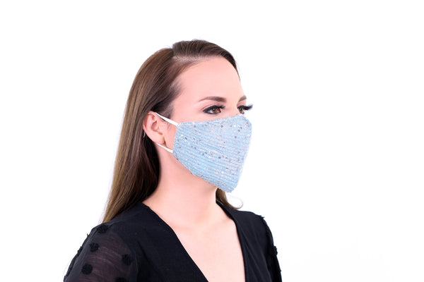 2 Pack Light Blue Reusable Face Masks 3 Layer Cotton Fabric with Pocket for Filter, Nose Strip and Adjustable Ear Loops