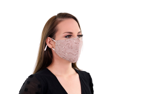 2 Pack Gold Reusable Face Masks 3 Layer Cotton Fabric with Pocket for Filter, Nose Strip and Adjustable Ear Loops