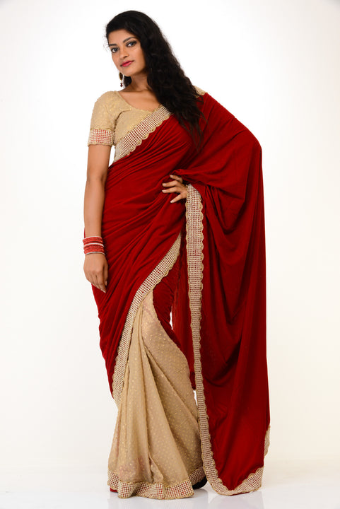 Red and Beige Velvet Sari