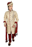Traditional Cream Brocade Silk Indian Wedding Sherwani For Men