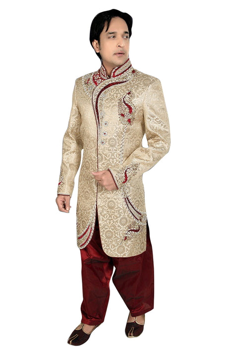 Ethnic Brown Brocade Silk Indian Wedding Sherwani For Men