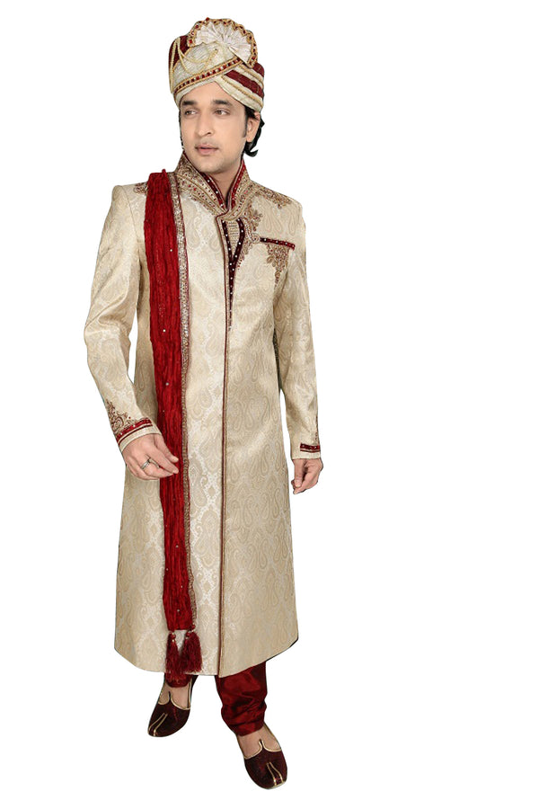 Traditional Brown Brocade Silk Indian Wedding Sherwani For Men
