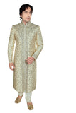 Fancy Brown Brocade Silk Indian Wedding Sherwani For Men