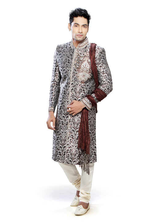 Traditional Saddle Brown and Off White Brocade Silk Indian Wedding Sherwani For Men