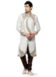 Fancy Off White Brocade Silk Indian Wedding Sherwani For Men