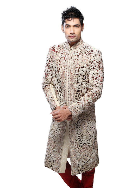 Modern Cream Brocade Silk Indian Wedding Sherwani For Men
