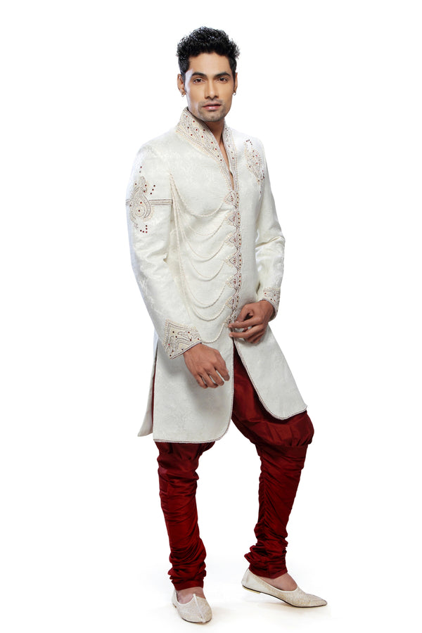 Fancy Cream Brocade Silk Indian Wedding Sherwani For Men