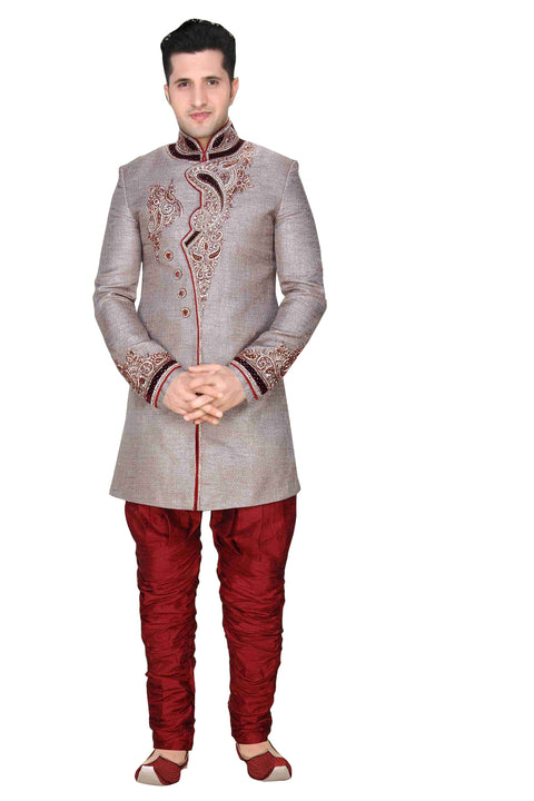 Traditional Gray Brocade Silk Indian Wedding Sherwani For Men