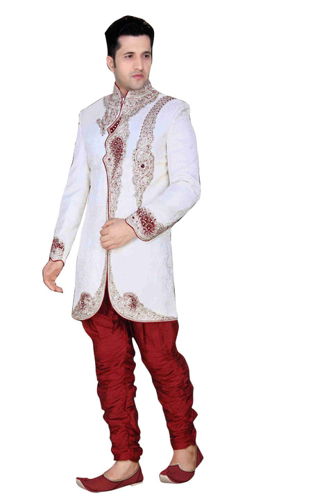 Modern White Brocade Silk Indian Wedding Sherwani For Men