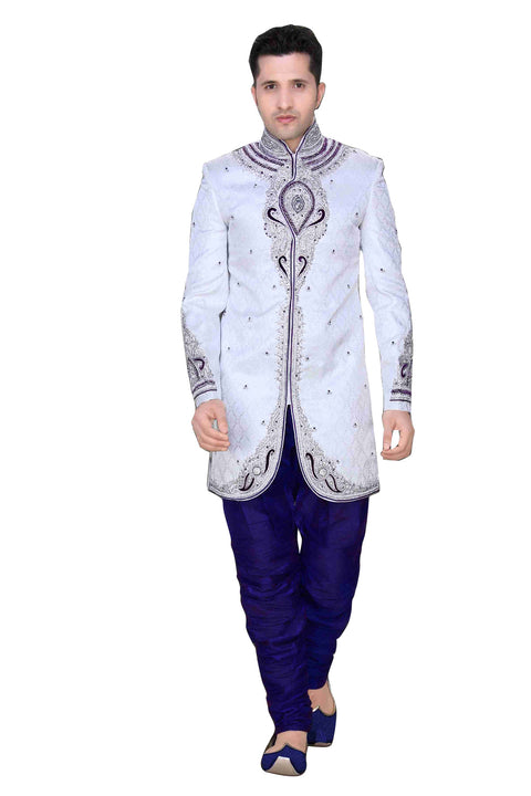 Elegant Off White Brocade Silk Indian Wedding Sherwani For Men