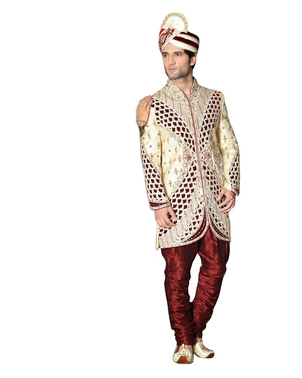 Ethnic Cream Jacquard Silk Indian Wedding Sherwani For Men