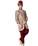 Fancy Off White Fancy Fabric Silk Indian Wedding Sherwani For Men