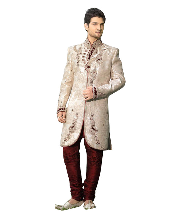 Ethnic Off White Jacquard Silk Indian Wedding Sherwani For Men