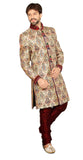 Traditional Cream Banarasi Silk Indian Wedding Sherwani For Men
