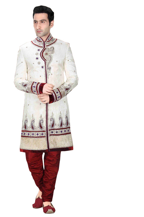 Ethnic Cream Brocade Silk Indian Wedding Sherwani For Men