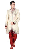 Elegant Butter Cream Brocade Silk Indian Wedding Sherwani For Men
